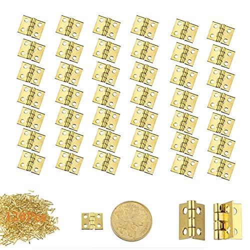 120pz Mini Bisagras de Gabinete y Caja Bisagras de Laton Mini Bisagras de Gabinete Conectores de Bisagras Bisagra Vintage Mini Bisagras y 480pz Tornillos para Mini Caja de Madera Gabinete de Muebles