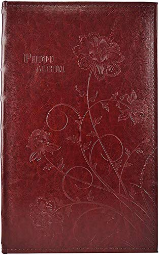 Golden State Art, Wedding Family Baby Dog Photo Album Christmas, Vacation, Anniversary Photography Book for 300 4x6 Pictures Pockets with Memo, 3 Per Page Large Capacity Maroon Faux Leather Vintage