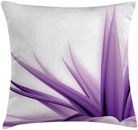 Ambesonne Flower Throw Pillow Cushion Cover Purple Ombre Style Long Leaves Water Colored Print product image