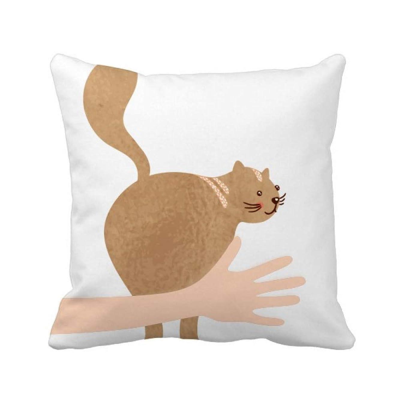 オーバーフローミネラルペインティング歩行動物の茶色のかわいい猫 手投げ枕カバー正方形