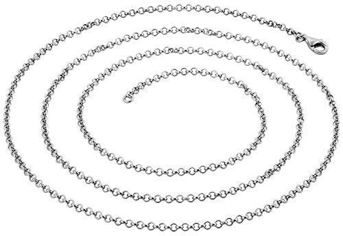 Nenalina - Silberkette für Anhänger aus 925 Sterlingsilber mit Karabinerverschluss in 60cm Länge und 2,2mm Breite | Erbskette 802044-060 Silber