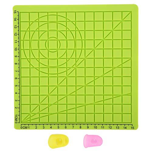 3D Stiftmatte, 3D Stiftauflage Silikonvorlage, 3D Druckstiftmatte, 3D-Druckstift Silikonauflage, 3D-Druck Silikonmatte Vorlage Pad Kopierbrett + 2 Stück Fingerabdeckung Zeichenwerkzeuge Grün Typ A