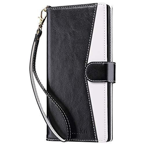 ULAK Galaxy Note 10+ 5G Hülle, Premium Lederhülle Flip Cover Tasche Brieftasche Schutzhülle Magnet Handyhülle mit Kartenfächer case für Samsung Galaxy Note 10+ 5G/Note 10 Plus 5G - Schwarz