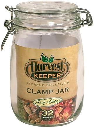 Harvest Keeper 744334 玻璃储物罐,带金属夹盖 32盎司 744334