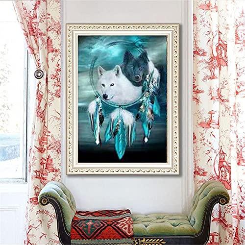 5D diy pintura diamante Lobo Diamond Painting taladro completo Cristal diamante Bordado Pinturas Artes kit de punto de cruz para decoración pared del hogar mosaico cuadro 40x100cm
