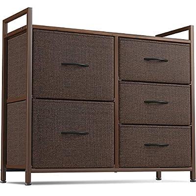 Cubiker Dresser Storage Organizer, 5 Drawer Dresser Tower Unit for Bedroom Hallway Entryway Closets, Small Dresser Clothes Storage with Sturdy Steel Frame Wood Top, Brown