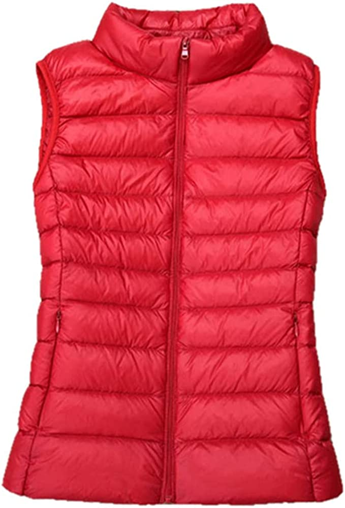 New Women 90% White Duck Down Vest Women's Ultra Light Duck Down Vest Jacket Autumn Winter High collar Sleeveless Coat