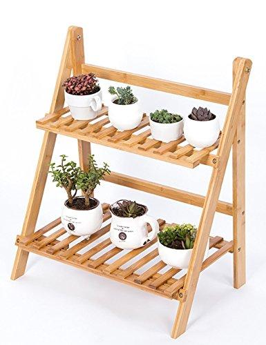 Stand d'usine Étagère à fleurs Pliant en bois à 2 couches Flowerpot Rack Européenne - Style Garden Ladder à l'intérieur et à l'extérieur Pots de plantes étagère Étagère à fleurs à plusieurs niveaux