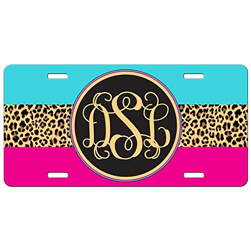 Simply Customized Hot Pink Turquoise Leopard Cheetah Front License Plate Personalized Animal Print Gift for Her Mothers Day PLP