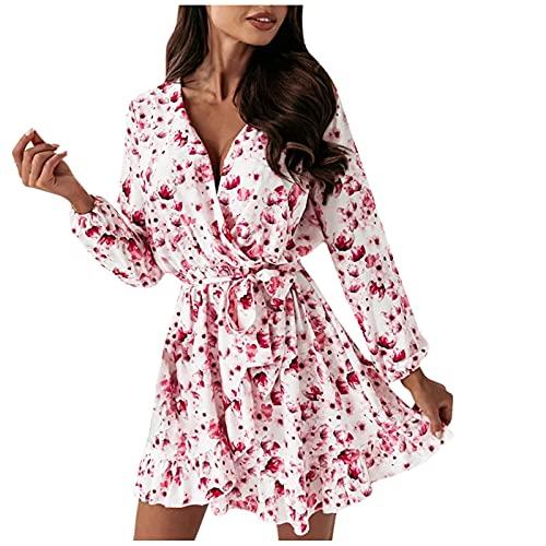 Elegantes Damen-Kleid Curvy Mini-Kleid mit Volantärmel und langen Ärmeln, bedruckt, modisch, mit Schnürsenkeln, Rosa, Large