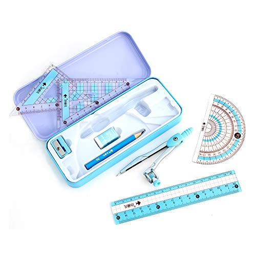 waremew 8 Pcs Compass/Math Set for Students with Shatterproof Storage Box, Geometry Set for School, Includes Ruler, Protractor, Compass, Pencil,Pencil Sharpener and Eraser,etc. Perfect Gift