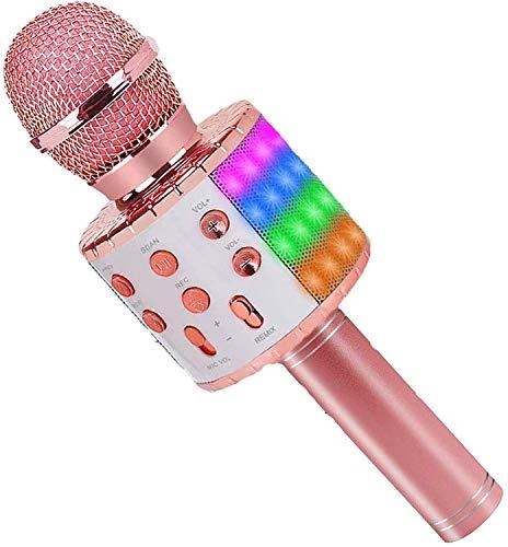 ASENTER Micrófono Inalámbrico Bluetooth Karaoke con luces LED,Infantil Portátil de mano Speaker Machine Birthday Home Party Compatible con Android/iOS/PC/AUX o Teléfono Inteligente Oro Rosa