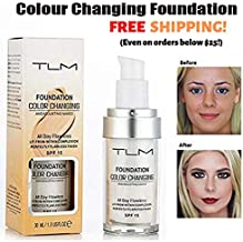 TLM Flawless Colour Changing Foundation 30ml Makeup Base Warm Skin Tone Nude Face Moisturizing Liquid Cover Concealer Long-Lasting
