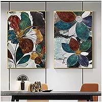 LLXHG 抽象的な花の植物の壁の芸術リビングルームのための現代の家の写真は、インテリア装飾のためのキャンバスの絵画を残します-50x70cmx2フレームなし