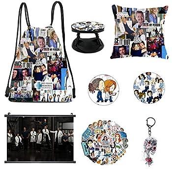 Greys Anatomy Merchandise,Drawstring Bag,Pillowcase,Keychain,Stickers,Brooch,Phone Holder,Poster  A