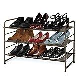 Simple Trending 3-Tier Stackable Shoe Rack, Expandable & Adjustable Shoe Shelf Storage Organizer,...