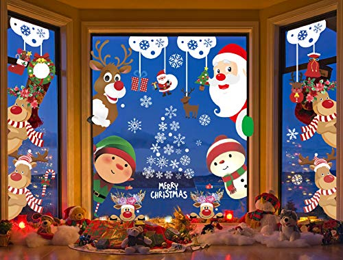 Voqeen Natale Adesivi Porta Vetrofanie Fiocco di Neve Addobbi Albero di Natale Adesivi Adesivo per...