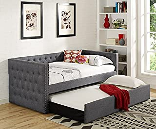 Trina Grey Fabric Daybed w/ Trundle by Crown Mark