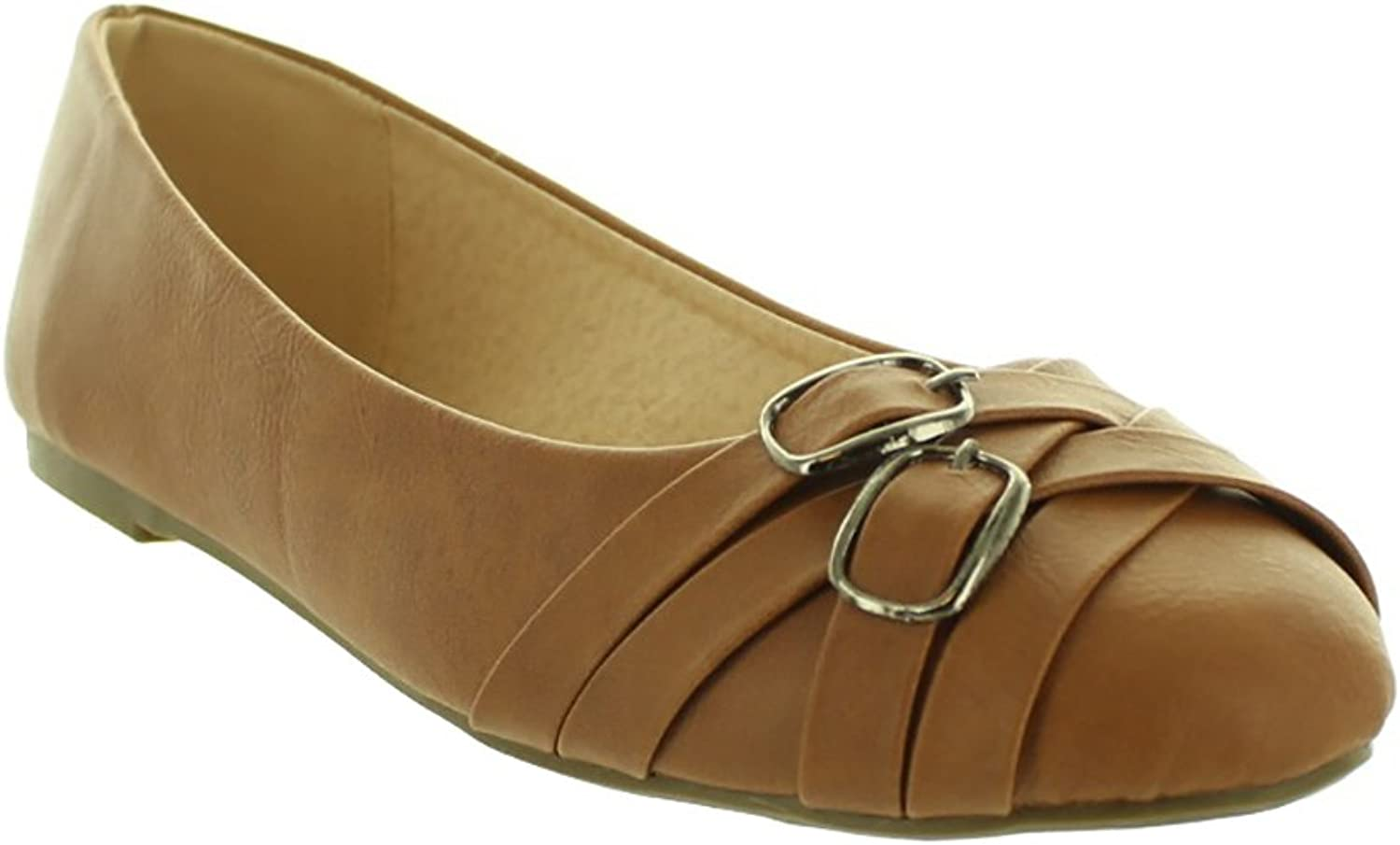 Fashion Focus LA FLY-2-CG Women's Fashion Designer Flats Slippers Slip-on in Cognac Brown