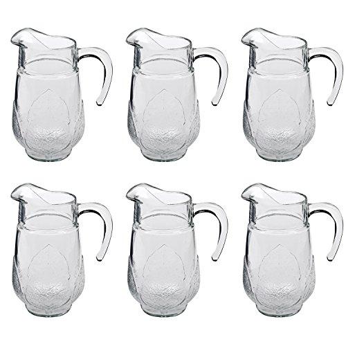 Luminarc 34691 Aspen Wasserkrug Saftkrug, Glas, 1,3 Liter, klar (6er Pack)
