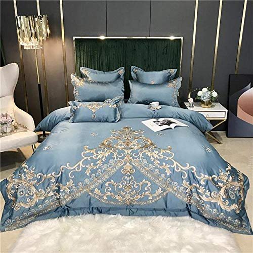 TYDH Gold Embroidery 60S Satin Silk Cotton Bedding Set Double Duvet Cover Set Bed Linen Fitted Sheet Pillowcases Home Textile 9 Bed Sheet Style King Size 4pcs