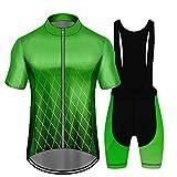 De Secado Rápido Ciclismo Conjunto Ruta para Bicicleta Conjunto Jersey De Los Hombres con 3D Gel Acolchado MTB Montar Ropa Kit Green-L