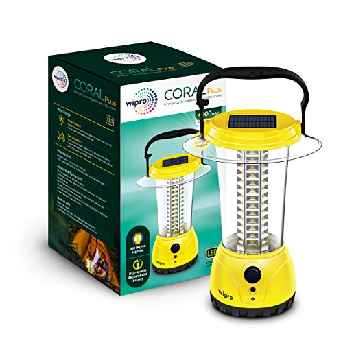 Wipro Coral Plus Rechargeable Solar LED Lantern (Pack of 1, Yellow)