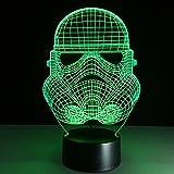 Masque à gaz 3D Lampes avec Télécommande, LED Lampe 7 couleurs Lumière Dimmable...
