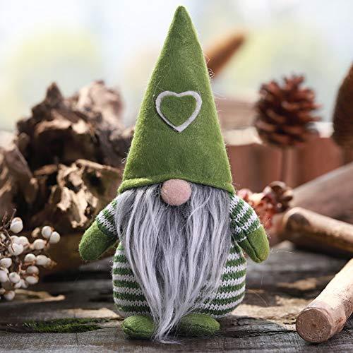 Sombrero no tejido con corazón Gnomo hecho a mano Adornos de figuras de Navidad de Santa Decoración de mesa de...