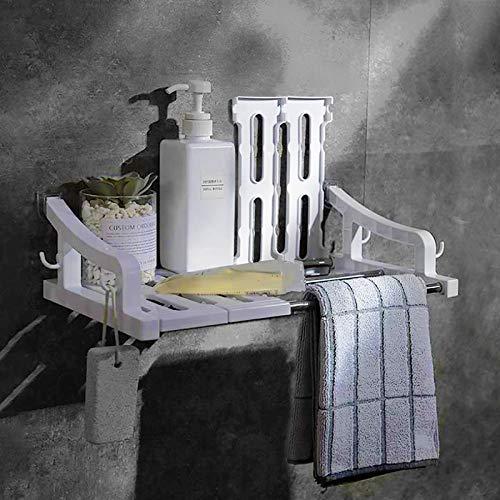 UFLF Wandregal Selbstklebend Badregal Küchenregal Ohne Bohren Weiß Aufbewahrungsregal Organizer Schweberegal mit Haken für Badezimmer Küche Home