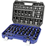 WORKPRO 1/2' Drive Impact Socket Set with Extension Bars 55-Piece SAE (3/8' to 1-1/16') Metric (12-27 MM) Deep and Shallow Length Cr-V Steel