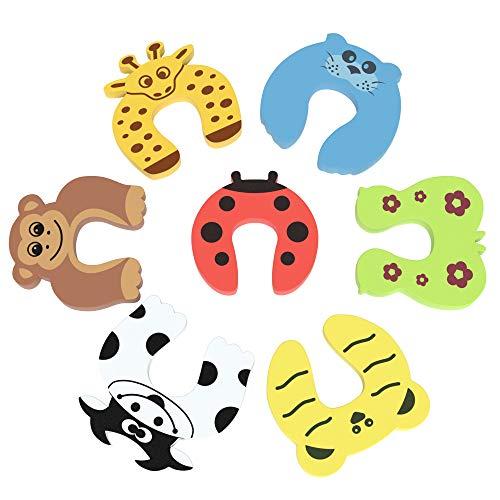 EAZY CASE 7x Fingerklemmschutz mit Tiermotiven, Türstopper aus Schaumstoff, Kindersicherung gegen zufallende Türen und Fenster, Kantenschutz