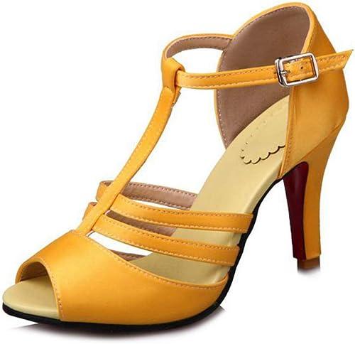 Femmes Gladiator Pumps, Sexy Peep Toe Slip sur Chunky Talons Hauts Sandales Confort De Mariage Party Dance Chaussures