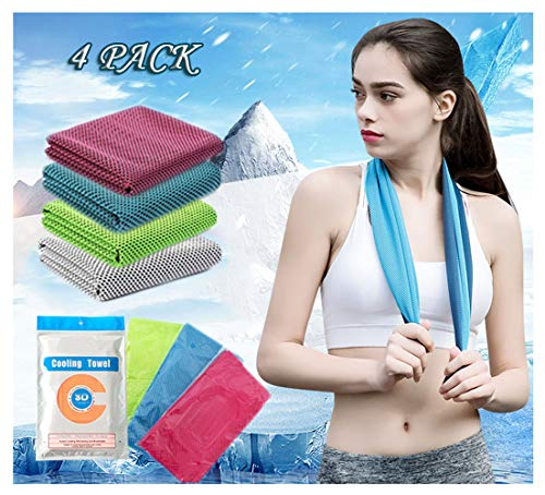 Cooling Towel, 4 Pcs Quick Dry Super Absorbent Lightweight Cool Cold Towel, Instant Cooling Relief Towel Best for Gym Travel Camp Backpacking Yoga Fitness