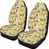 KUILIUPET Funda de asiento de coche para mujeres y hombres, diseño de dibujos animados lindo patrón de perezosos impreso Auto interior protector accesorios suaves y lavables decoraciones