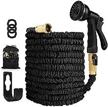 Garden Hose Expandable Hose - Heavy Duty Flexible Leakproof Hose - 8-Pattern High-Pressure Water Spray Nozzle & Bag & Plastic Holder.No Kink Tangle-Free Pocket Water Hose -Black (50FT Garden Hose)