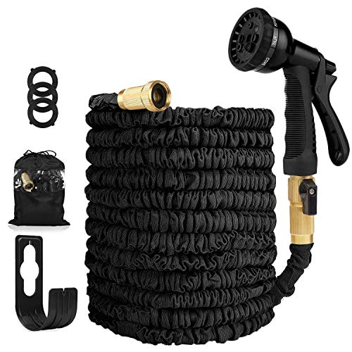 ANWER Garden Hose Expandable Hose - Heavy Duty Flexible Leakproof Hose - 8-Pattern High-Pressure Water Spray Nozzle & Bag & Plastic Holder.No Kink Tangle-Free Pocket Water Hose -Black (100FT)