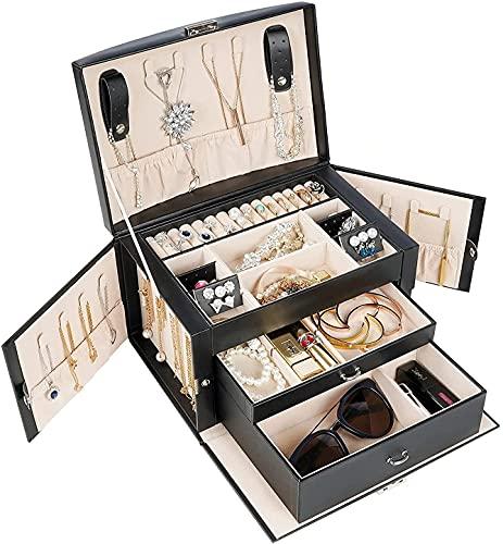 ProCase Boîte à Bijoux Cuir Gainé, Coffret à Bijoux 3 Compartiments, sans Perdre ou Abîmer Noir