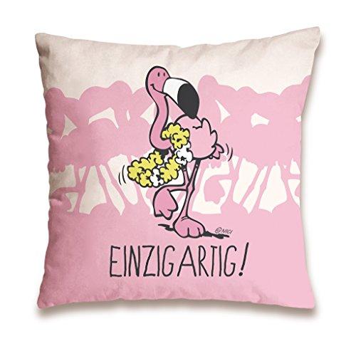 """NICI 41940 Flamingo Baumwollkissen """"Einzigartig"""", 37 x 37 cm"""