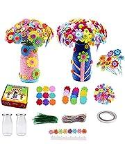 Kit de manualidades de flores para niños de 4 a 6 años, Alldo DIY Jarrón Art and Craft para niñas, Haz tu propio ramo de flores con botones Flores de fieltro, regalo de cumpleaños de Navidad