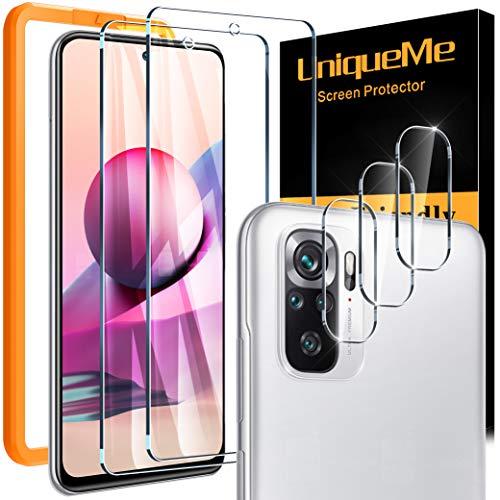 UniqueMe 2 Pack Protector de Pantalla Compatible con Xiaomi Redmi Note 10/10S y 3 Pack Protector de lente de cámara,[Doble protección] [Sin Burbujas] HD Cristal Vidrio Templado