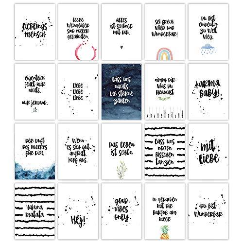 HERZ & PAPIER Set mit 20 Postkarten ● Grußkarten mit Sprüchen und Zitaten zum Thema Freundschaft und Leben