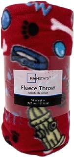 Mainstay Dog Fleece Throw Blanket 50in x 60in