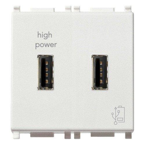 Vimar 14295 Plana Doppia presa USB 5V2,1A per alimentazione 2 Moduli bianco