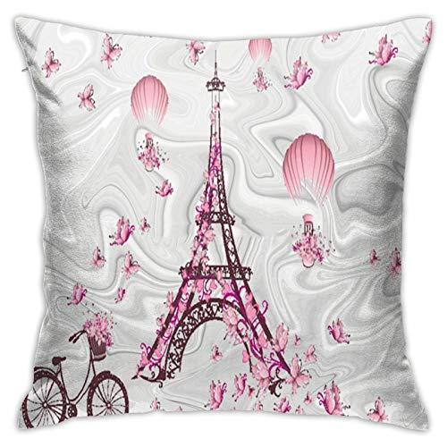 Fundas de cojín Romance Paris Tower Butterfly 45 x 45 cm (45 x 45 cm), moderna funda de cojín decorativa para sofá, sillón, cama, coche