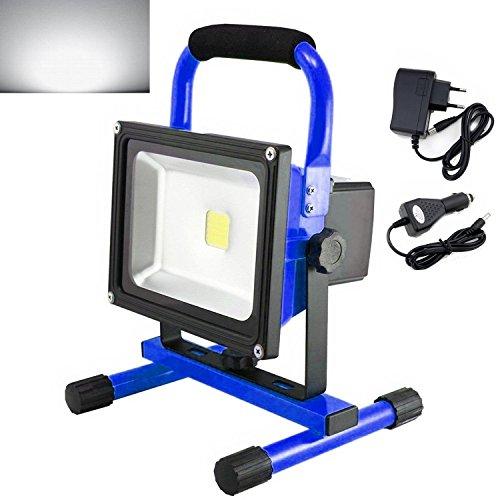 MCTECH® 20W LED blanc chaud Bleu Portable Rechargeable Lampe baladeuse Chantier à LED Phare de...