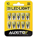 AUXITO 194 LED Light Bulb 6000K White 168 2825 W5W T10 Wedge 14-SMD LED Replacement Bulbs for Car Dome Map Door Courtesy License Plate Lights, Pack of 10