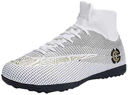 Mengxx Fußballschuhe für Herren, FG-Schuhe (fester Untergrund) mit hohem Schaft, für Sport, - Weiß R - Größe: 40 EU