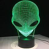 7 colori che cambiano l'ologramma 3D Illusion Lampada a forma di alieno con occhi a schiocco Luce notturna acrilica con interruttore tattile