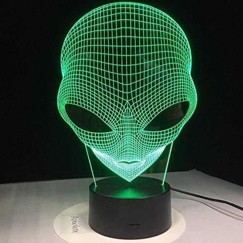 7 Farben ändern 3D Hologramm Illusion Pop-Eyed Alien Shape Lampe Acryl Nachtlicht mit Touch-Schalter